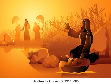 Biblical vector illustration series, Jochebed put Moses in the Nile, knowing that the Pharaohs daughter came to bathe there