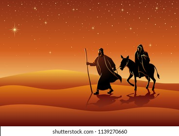 Biblical vector illustration series. Mary and Joseph, journey to Bethlehem, for Christmas theme