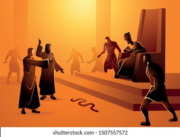 Biblical vector illustration series, Moses and Aaron went to Pharaoh and did what the Lord had commanded them. Aaron threw down his staff before Pharaoh and his officials, and it became a serpent