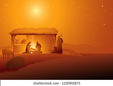 Biblical vector illustration series, nativity scene of The Holy Family in stable. Christmas theme