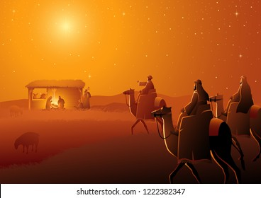 Biblical vector illustration series, nativity scene of The Holy Family and three wise men. Christmas theme