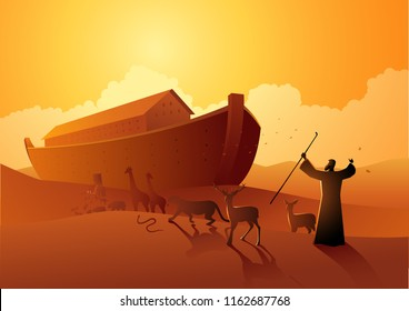 Biblical vector illustration series, Noah and the ark before great flood