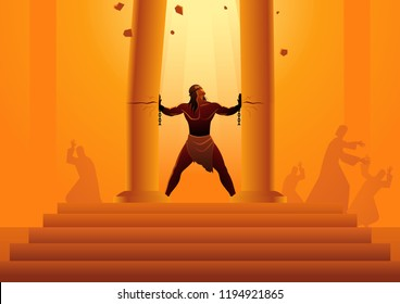 Biblical vector illustration series, Samson held the pillars of the temple and pushing them apart