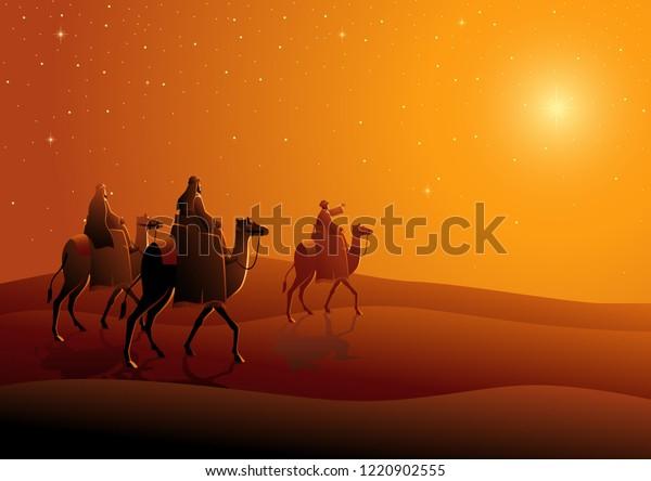Biblical vector illustration series, three wise men, journey to Bethlehem