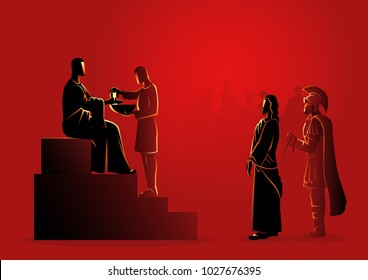 Biblical vector illustration series. Way of the Cross or Stations of the Cross, first station, Pilate condemns Jesus to die.