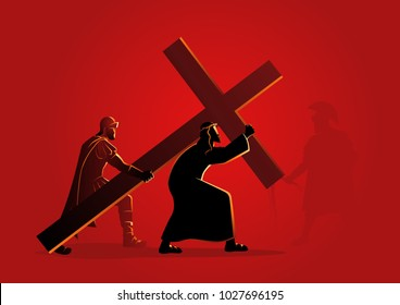 Biblical vector illustration series. Way of the Cross or Stations of the Cross, second station, Jesus accepts his cross.