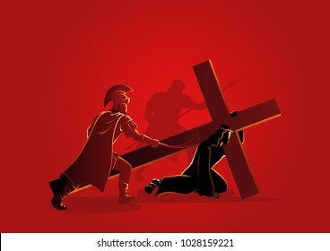 Biblical vector illustration series. Way of the Cross or Stations of the Cross, third station, Jesus falls for the first time.