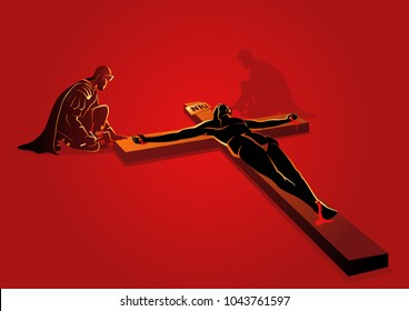 Biblical vector illustration series. Way of the Cross or Stations of the Cross, eleventh station, Jesus is Nailed To The Cross.