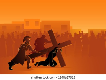 Biblical vector illustration series. Way of the Cross or Stations of the Cross, Passion of Christ.
