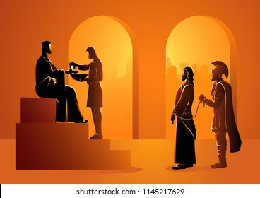 Biblical vector illustration series. Way of the Cross or Stations of the Cross, Pilate condemns Jesus to die.