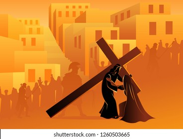 Biblical vector illustration series. Way of the Cross or Stations of the Cross, fourth station, Jesus Meets His Blessed Mother, Mary.