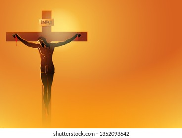 Biblical vector illustration series. Way of the Cross or Stations of the Cross, Jesus Dies On The Cross.