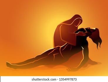 Biblical vector illustration series. Way of the Cross or Stations of the Cross, Jesus is taken down from the cross, Mother Mary mourning the death of Jesus.