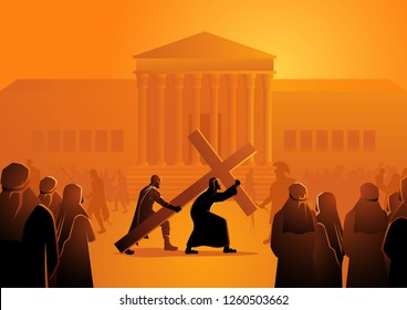 Biblical vector illustration of Way Of The Cross or Stations of the Cross, second station, Jesus accepts his cross.