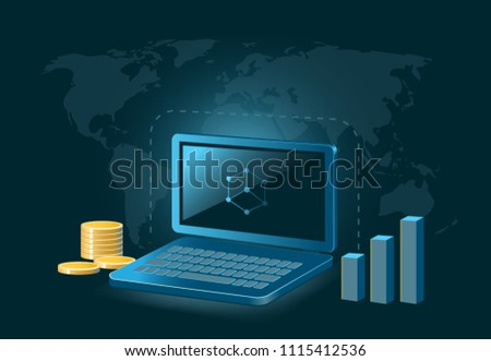 Bibox Token Cryptocurrency Coin Global Laptop Stock Vector (Royalty