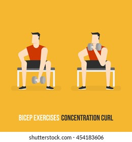Bicep Exercises. Concentration Curl. Flat Design Bodybuilder Character Lifting Dumbbell.