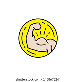 Bicep muscle line icon. Muscular male arm strength symbol. Simple power fitness coin sign. Vector illustration.
