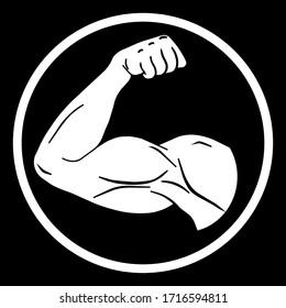 Biceps arm vector icon, fitness logo design