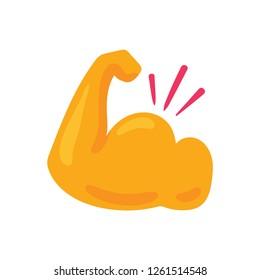Biceps flat color illustration. Champion, winner clipart. Power, strength hand drawn design element