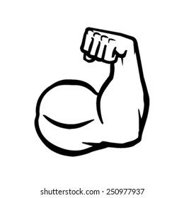 Biceps Flex Arm Vector Icon, Muscular Bodybuilder Pose