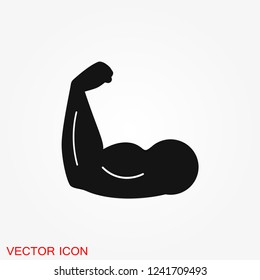 Biceps icon, muscle strength or power vector icon