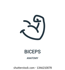 biceps icon vector from anatomy collection. Thin line biceps outline icon vector illustration. Linear symbol for use on web and mobile apps, logo, print media.
