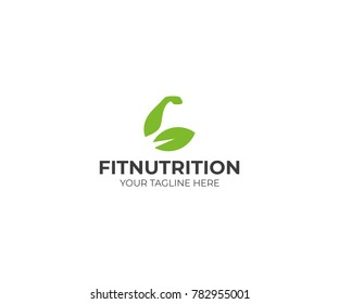 Biceps and Leaf Logo Template. Sports Nutrition Vector Design. Muscles Illustration