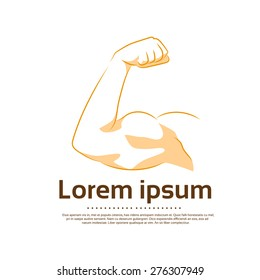 Biceps Logo Color Icon Strong Arm Flexing Muscle Vector Illustration
