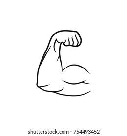 Biceps muscle arm, vector illustration line style