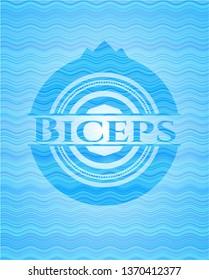 Biceps sky blue water emblem background.