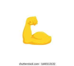 Biceps vector isolated emoji gesture flat illustration. Muscle emoticon