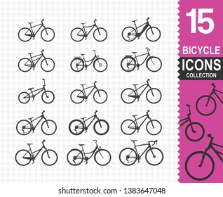 Bicicle icons vector  (15vector icons)