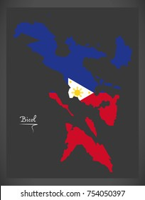 Bicol map of the Philippines with Philippine national flag illustration