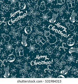 """Bicolour christmas background. Seamless pattern with xmas symbols, snow and inscription """"Merry Christmas"""". Snowman, berry, candle, snowflake, bauble, gift box, sock, candy cone. Vector illustration."""