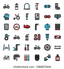 bicycle accessories fill outline icon, sport and exercise, isolated on white background