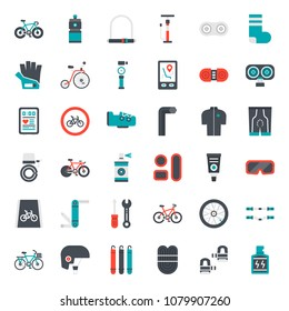 bicycle accessories flat icon, sport and exercise, isolated on white background