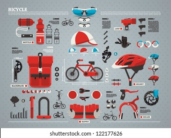 bicycle and accessories info graphic, vector set