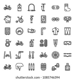 bicycle accessories outline icons, sport and exercise, isolated on white background
