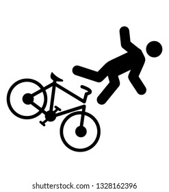Bicycle accident pictogram, ideology design.