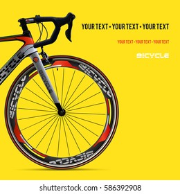 Bicycle advertising poster yellow modern sport health