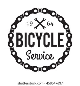 Bicycle Badge Label. Bike Service. For signage, prints and stamps. Bicycle sign with wrenches and chain