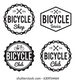 Bicycle Badges/Labels set. Bike Shop, club and service. For signage, prints and stamps. With wrenches