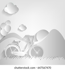Bicycle, balloon, sun and meadow on cloud background, paper cut style. vector illustration.