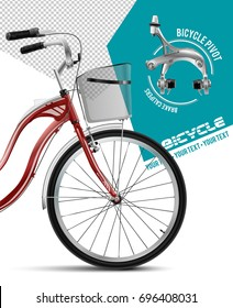 Bicycle with a basket. City bicycle. Bicycle Dual Pivot Brake Calipers Silver.