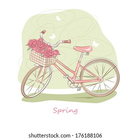 Bicycle with a basket of flowers and butterflies. Vector illustration