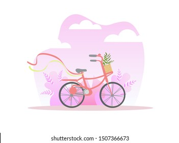 Bicycle with Basket of Flowers on Spring or Summer Background Vector Illustration