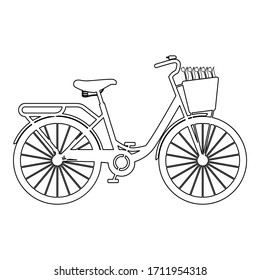 Bicycle with basket and flowers tulips icon outline black color vector illustration flat style image