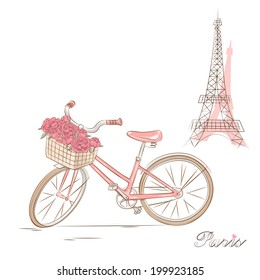 Bicycle with a basket of flowers . Vector illustration