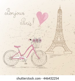 Фотообои Bicycle with a basket full of flowers on the background Eiffel Tower in Paris. Vector illustration.