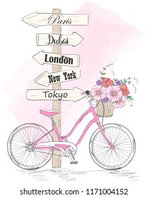 Bicycle with a basket full of flowers and signpost in the cities of the world. Vector illustration.